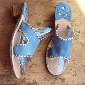Jack Rogers Blue Gray with Gold Whipstitch Size 7